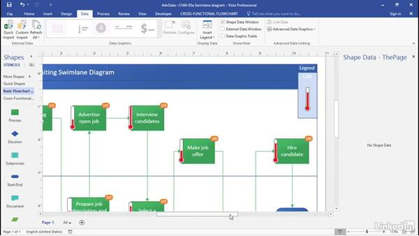 Visualize data with data bars: Advanced Visio: Working with Data