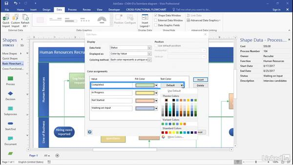 Visualize data with color by value: Advanced Visio: Working with Data