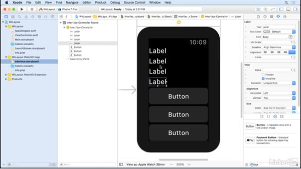 Stack controls for scrolling views: Learning Apple watchOS 3 App Development