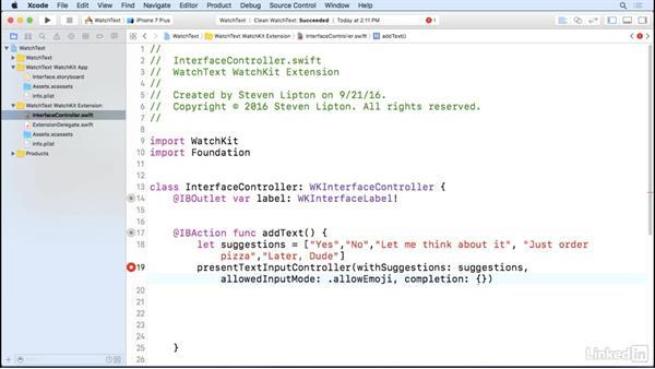 Text inputs: Learning Apple watchOS 3 App Development