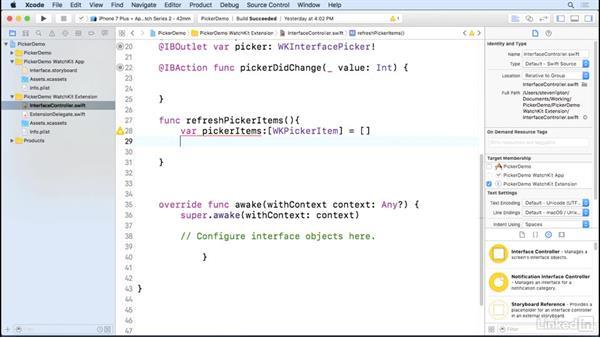 Pickers: Learning Apple watchOS 3 App Development