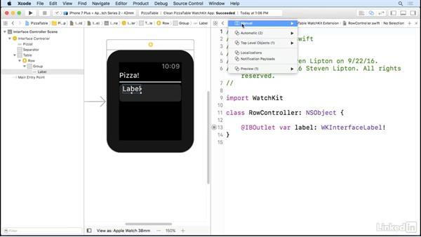 Single row tables: Learning Apple watchOS 3 App Development