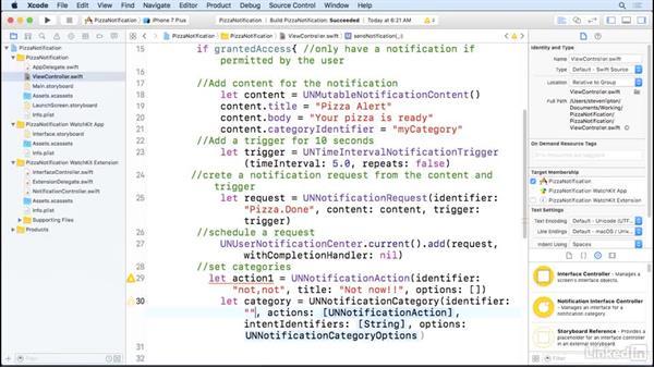 Notifications in iPhone to watch: Learning Apple watchOS 3 App Development
