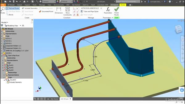 Using a derived route: Autodesk Inventor Routed Systems: Tubing