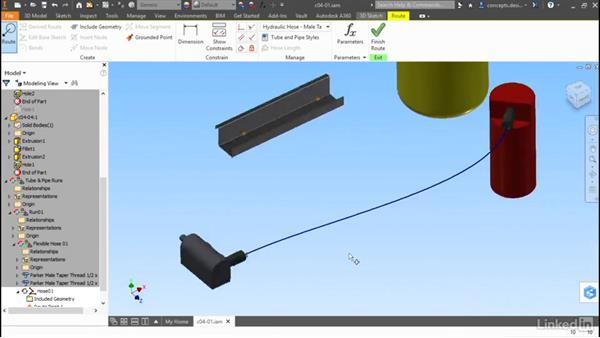 Routing between connectors: Autodesk Inventor Routed Systems: Tubing