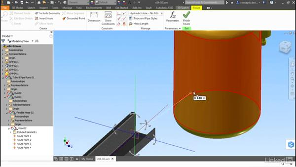 Using objects and points to route: Autodesk Inventor Routed Systems: Tubing