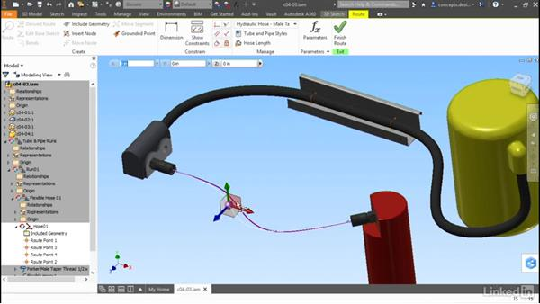 Editing a hose: Autodesk Inventor Routed Systems: Tubing