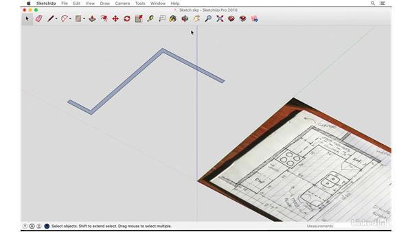 Creating walls based on a sketch: SketchUp: Kitchen Design