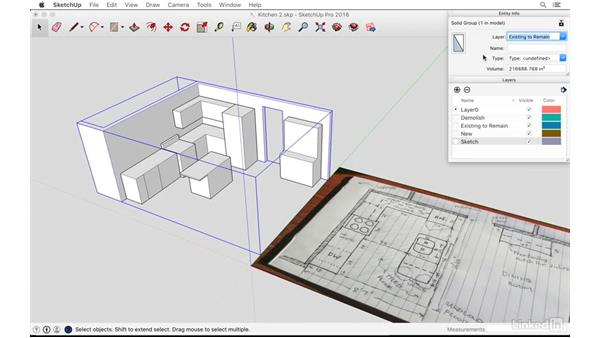 Demolishing with layers: SketchUp: Kitchen Design