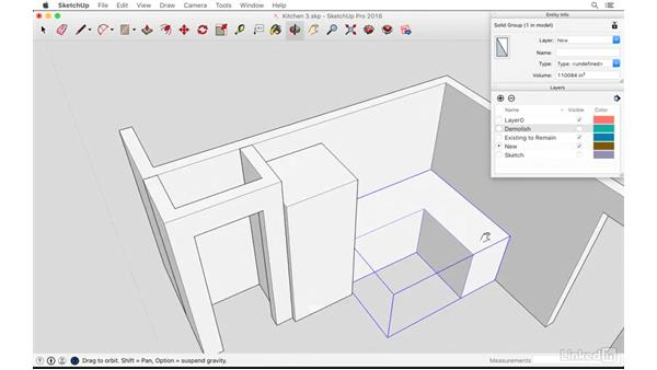Creating a massing model of the new kitchen: SketchUp: Kitchen Design