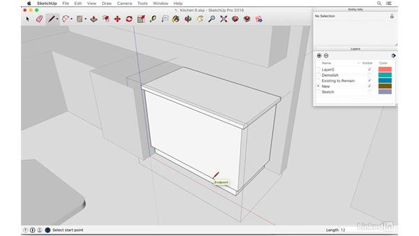 Detailing counter and lower cabinets: SketchUp: Kitchen Design