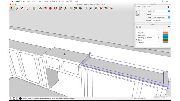 Creating cabinet moldings: SketchUp: Kitchen Design