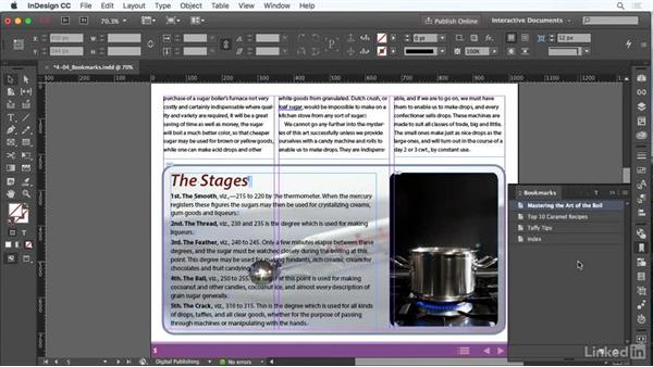 Use bookmarks: InDesign CC: Interactive Document Fundamentals