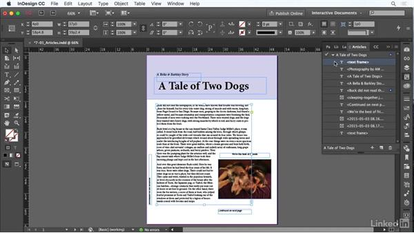 Use the Articles panel: InDesign CC: Interactive Document Fundamentals