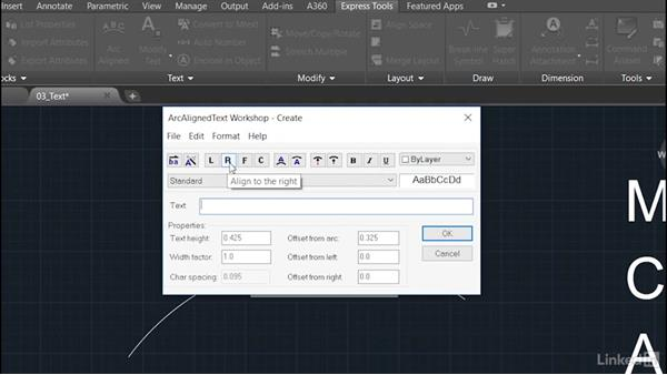 Arc-Aligned Text: AutoCAD: Express Tools Workflow