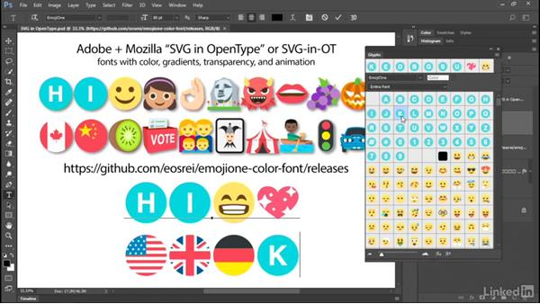 Multicolor SVG in OpenType fonts: Photoshop CC 2017: New Features