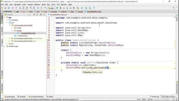 Manage data in Java collections: Android App Development Essentials: Local Data Storage