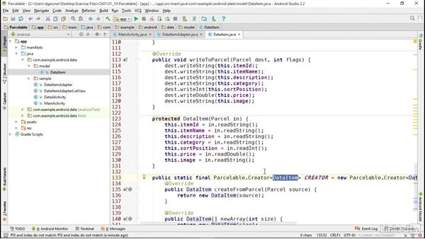 Pass parcelable objects as intent extras: Android App Development Essentials: Local Data Storage