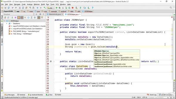 Create JSON data files: Android App Development Essentials: Local Data Storage