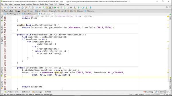 Retrieve data with SQLite queries: Android App Development Essentials: Local Data Storage