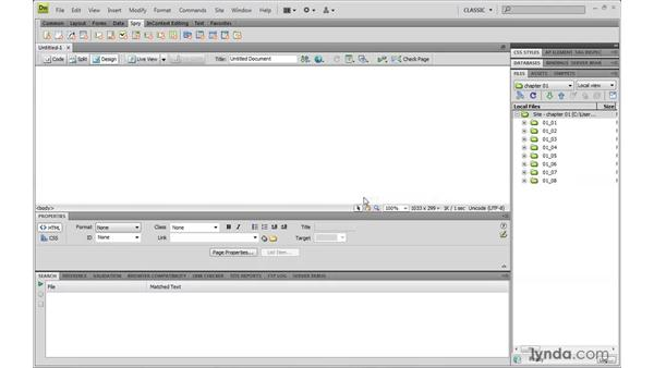 Setting up a custom workspace: Dreamweaver CS4 with CSS Essential Training