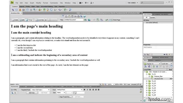 Separating structure from presentation: Dreamweaver CS4 with CSS Essential Training