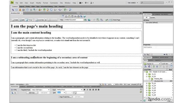 Adding meaning with ID and class attributes: Dreamweaver CS4 with CSS Essential Training