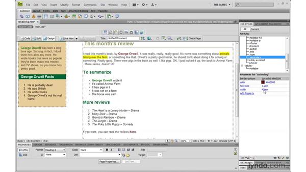 Using Dreamweaver to resolve conflicts: Dreamweaver CS4 with CSS Essential Training