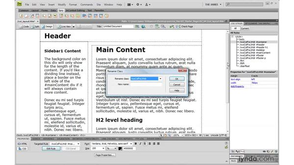 Modifying CSS globally: Dreamweaver CS4 with CSS Essential Training