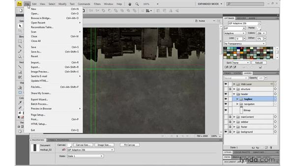 Creating the initial layout: Dreamweaver CS4 with CSS Essential Training