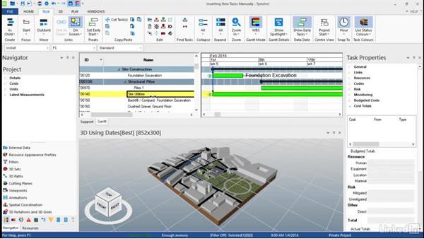 Creating tasks manually: Synchro Essential Training