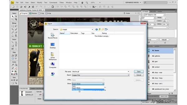 Exporting web graphics from Fireworks CS4: Dreamweaver CS4 with CSS Essential Training