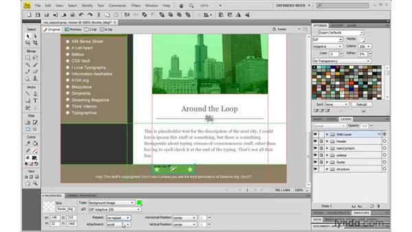 When to export XHTML and CSS from Fireworks CS4: Dreamweaver CS4 with CSS Essential Training
