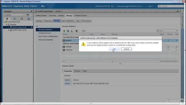 Configuring a software iSCSI initiator: Configuring and Administering Advanced VMware vSphere Storage