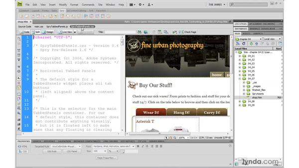 Using Related Files: Dreamweaver CS4 with CSS Essential Training