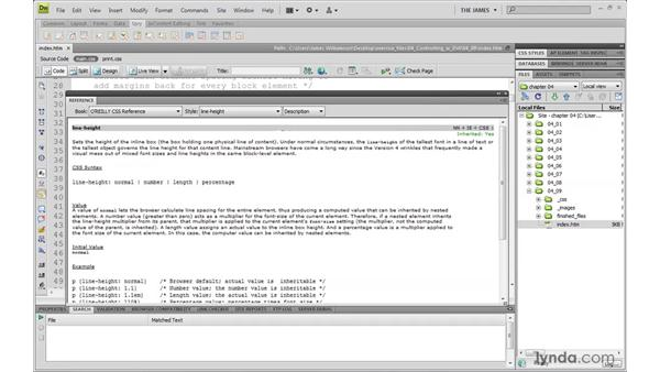 Working with the Reference panel: Dreamweaver CS4 with CSS Essential Training