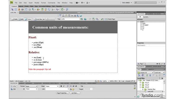 Understanding units of measurement: Dreamweaver CS4 with CSS Essential Training