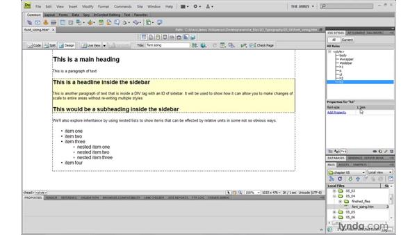 Controlling font sizing: Dreamweaver CS4 with CSS Essential Training