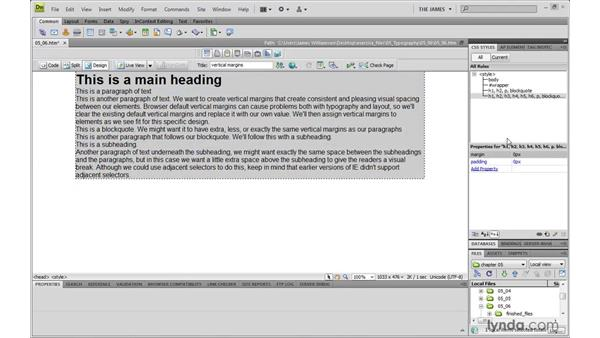 Controlling vertical margins: Dreamweaver CS4 with CSS Essential Training