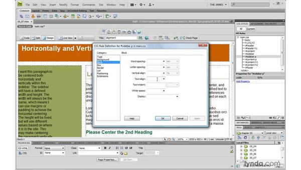 Horizontally aligning text: Dreamweaver CS4 with CSS Essential Training