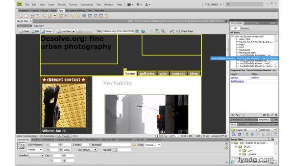 Background properties: Dreamweaver CS4 with CSS Essential Training