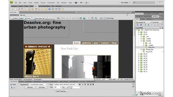Using background images: Dreamweaver CS4 with CSS Essential Training