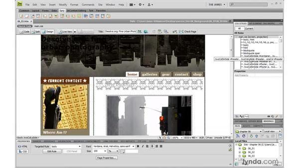 Controlling background image tiling: Dreamweaver CS4 with CSS Essential Training