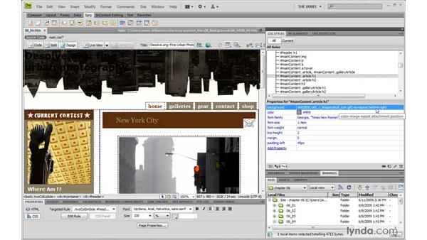 Positioning background images: Dreamweaver CS4 with CSS Essential Training
