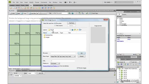 Using percentage values for positioning : Dreamweaver CS4 with CSS Essential Training