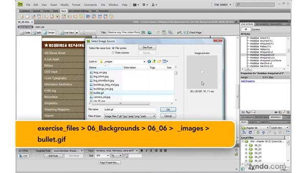 Creating custom list bullets: Dreamweaver CS4 with CSS Essential Training