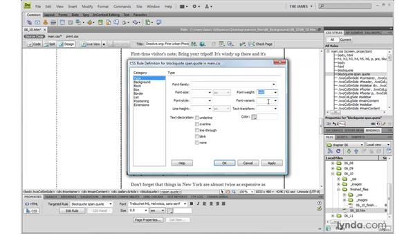 Complex background graphics: Dreamweaver CS4 with CSS Essential Training