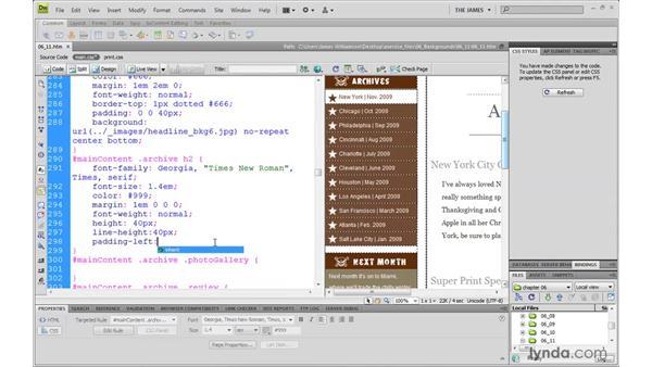 Using CSS Sprites: Dreamweaver CS4 with CSS Essential Training
