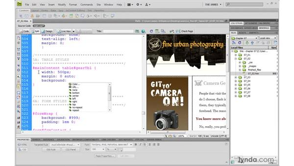 Using thead and tbody for styling: Dreamweaver CS4 with CSS Essential Training