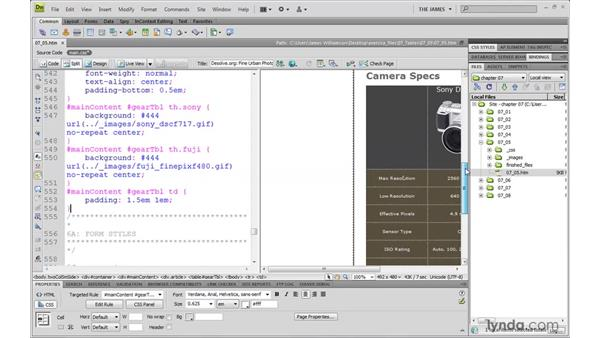Styling table content: Dreamweaver CS4 with CSS Essential Training